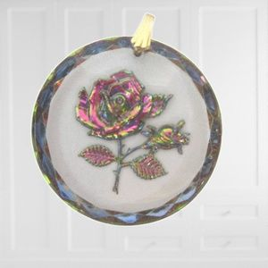 Vintage Rose Glass Pendant reverse mold iridized